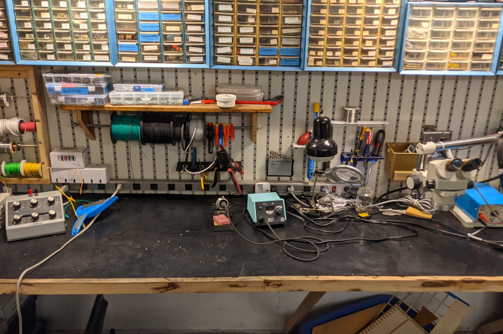 Corner view of the electronics lab